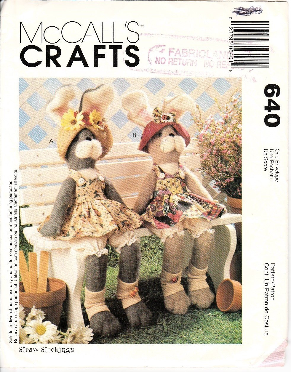 McCall's Crafts 640 / 9163 Bunny Rabbit Sewing Pattern Stuffed Animals - VintageStitching - Vintage Sewing Patterns