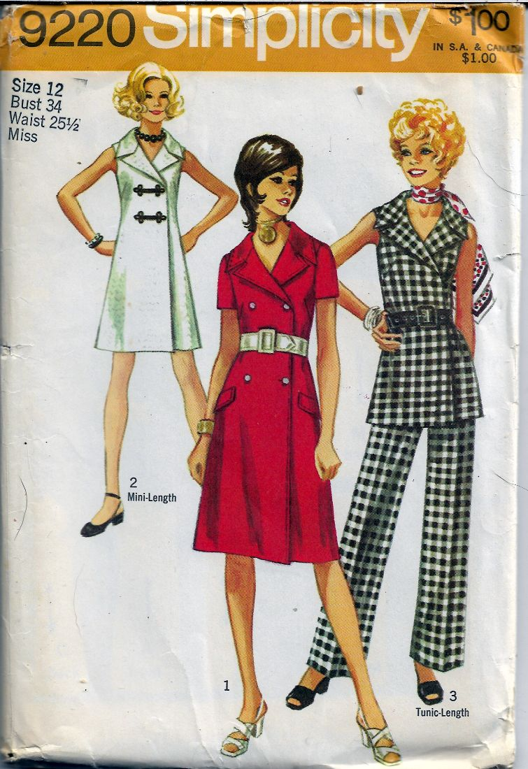 Simplicity 9220 Ladies Mini Coat Dress Pants Tunic Vintage Sewing Pattern1970s - VintageStitching - Vintage Sewing Patterns