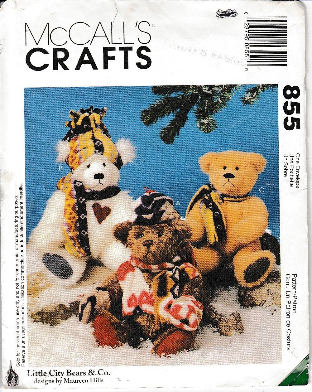 McCalls Crafts 855 / 9498 Stuffed Bears Sewing Pattern Christmas - VintageStitching - Vintage Sewing Patterns