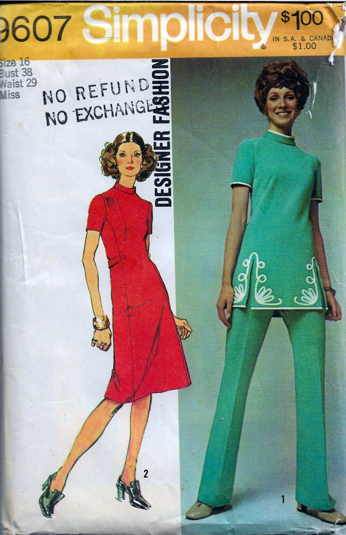 Simplicity 9607 Designer Fashion Vintage Pattern 1970s Dress Tunic Pants - VintageStitching - Vintage Sewing Patterns