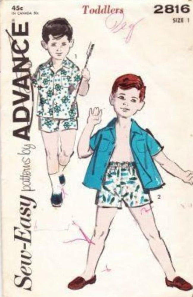 Advance 2816 Vintage Sewing Pattern Toddler Little Boys  Beach Shorts  Shirt 1960's Sew Easy - VintageStitching - Vintage Sewing Patterns