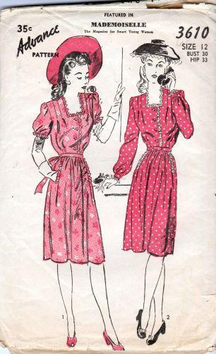Advance 3610 Ladies Shirtwaist Day Dress Vintage 1940's Pattern Tie Back Minnie Pearl - VintageStitching - Vintage Sewing Patterns