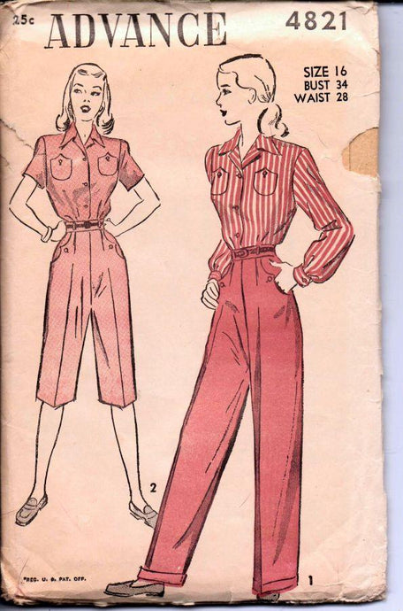 Advance 4821 Vintage 1940's Sewing Pattern Ladies Blouse Pedal Pusher Capri Pants Slacks - VintageStitching - Vintage Sewing Patterns