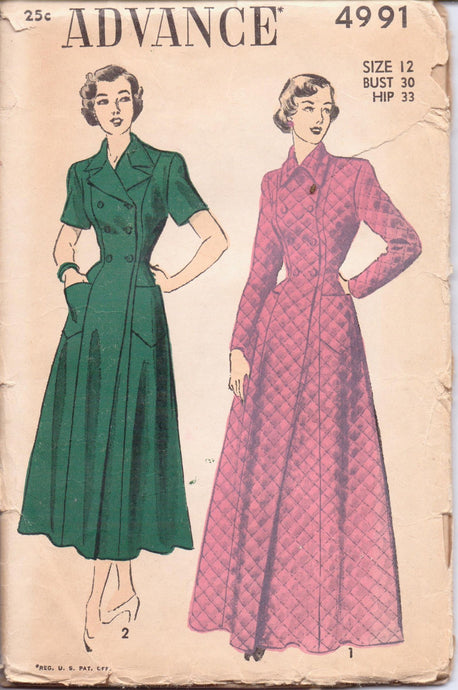 Advance 4991 Ladies Long Housecoat Double Breasted Robe Vintage 1940's Sewing Pattern - VintageStitching - Vintage Sewing Patterns