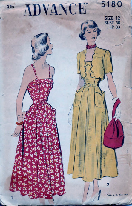 Advance 5180 Ladies Sun Dress Bolero Jacket Scallops Vintage 1940's Sewing Pattern - VintageStitching - Vintage Sewing Patterns