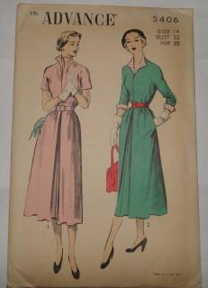 Advance 5406 Vintage Pattern 1940's Shirtwaist Day Dress Dress Inverted Pleats Wing Collar - VintageStitching - Vintage Sewing Patterns