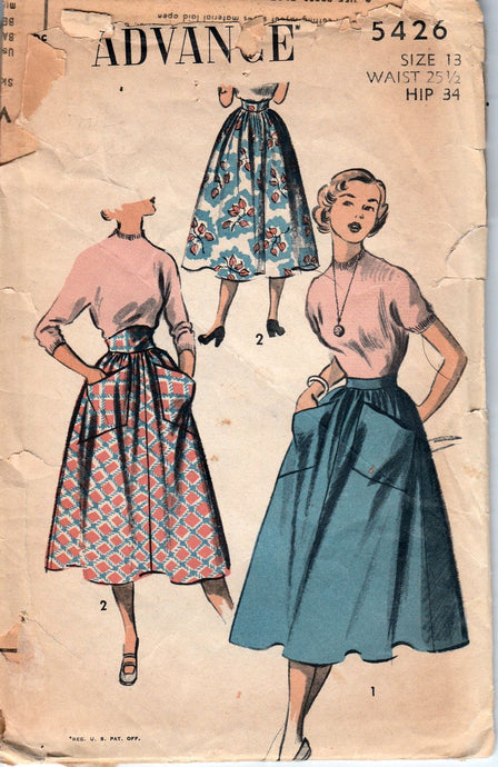 Advance 5426 Ladies High Waisted Skirt Vintage Sewing Pattern 1950's Unprinted - VintageStitching - Vintage Sewing Patterns