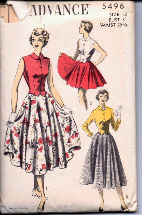 Advance 5496 Vintage 1940's Sewing Pattern Ladies Swing Street Length Skirt Sleeveless Blouse - VintageStitching - Vintage Sewing Patterns