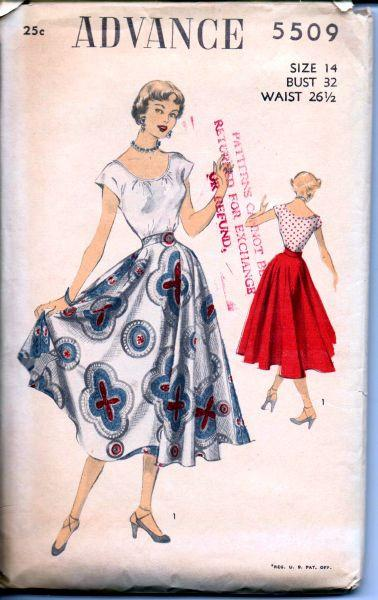 Advance 5509 Vintage 1940's Sewing Pattern Ladies Scoop Blouse Circle Swing Skirt - VintageStitching - Vintage Sewing Patterns