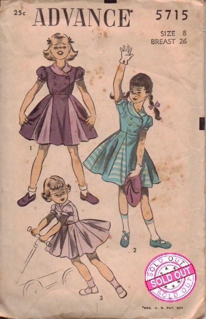 Advance 5715 Little Girls Dress Vintage 1940's Sewing Pattern Double Breasted - VintageStitching - Vintage Sewing Patterns