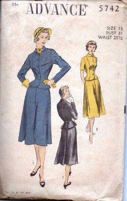 Advance 5742 Ladies Stylish Suit Jacket Peplum  Skirt Panel Pleats Vintage 1940's Sewing Pattern - VintageStitching - Vintage Sewing Patterns