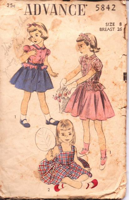 Advance 5842 Girls Contrast Overblouse Jumper Dress Puff Sleeves Peter Pan Collar Peplum Vintage 40's Sewing Pattern - VintageStitching - Vintage Sewing Patterns