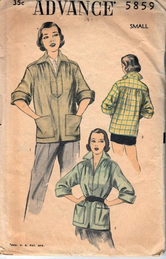 Advance 5859 Ladies Shirt Jacket Vintage 1950's Sewing Pattern - VintageStitching - Vintage Sewing Patterns