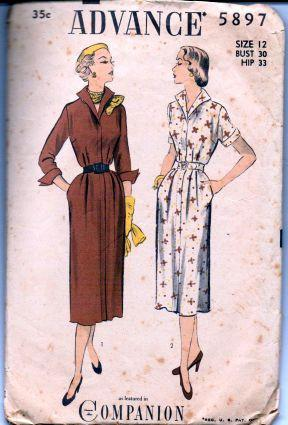 Advance 5897 Ladies Dart Fitted Shirwaist Day Dress Wing Collar Vintage 1940's Sewing Pattern - VintageStitching - Vintage Sewing Patterns