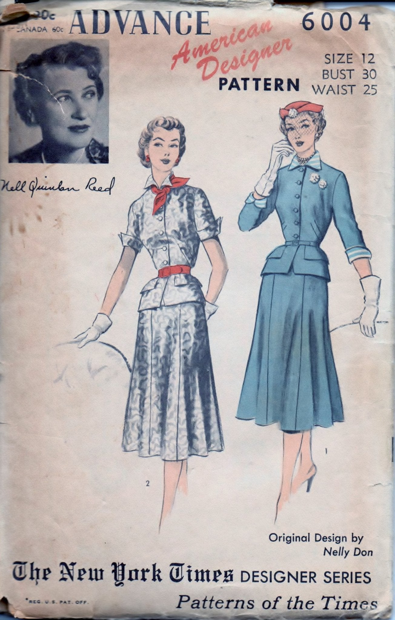 Advance 6004 Ladies Suit Dress Skirt Peplum Jacket  American Designer Vintage 50's Sewing Pattern - VintageStitching - Vintage Sewing Patterns
