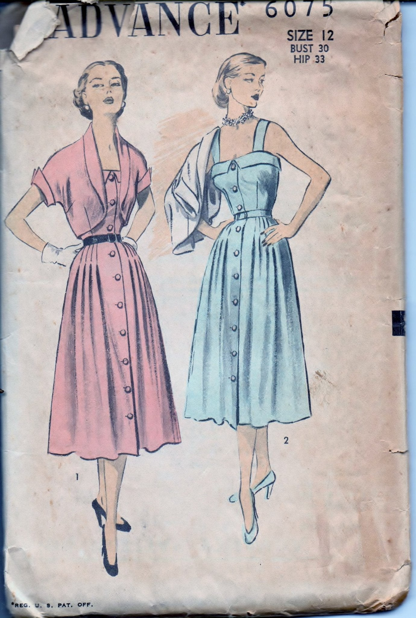 Advance 6075 Ladies Front Buttoned Sun Dress Bolero Jacket Vintage 1950's Sewing Pattern - VintageStitching - Vintage Sewing Patterns