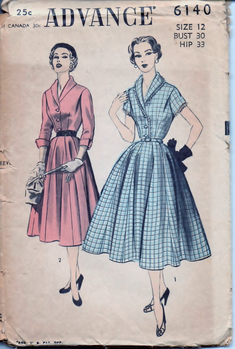 Advance 6140 Ladies Shirtwaist Day Dress Flared Skirt Vintage 1950's Sewing Pattern Unprinted - VintageStitching - Vintage Sewing Patterns