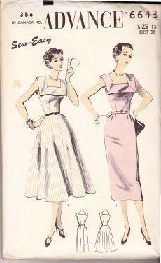 Advance 6643 Ladies Silhouette Sleeveless Dress Florentine Neckline Vintage 1940's Sewing Pattern - VintageStitching - Vintage Sewing Patterns