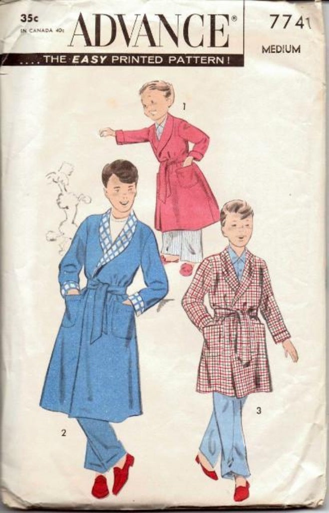 Advance 7741 Young Boys Long or Short Bath Robe Vintage 1970's Pattern - VintageStitching - Vintage Sewing Patterns