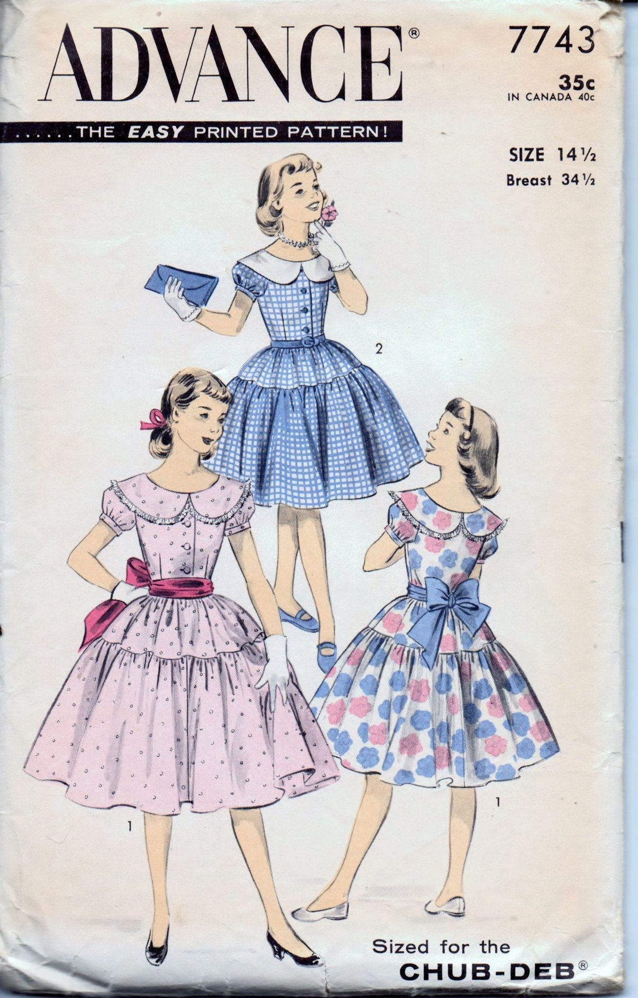 Advance 7743 Young Girls Dress Puff Sleeves Round Collar Vintage 50's Sewing Pattern Chub Deb - VintageStitching - Vintage Sewing Patterns