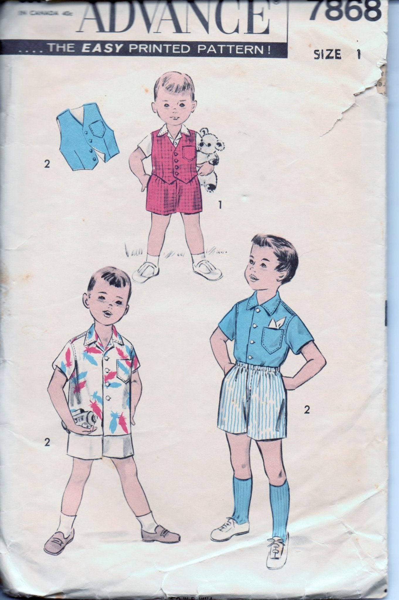 Advance 7868 Toddler Boys Boxer Shorts Vest Shirt Vintage 1950's Sewing Pattern - VintageStitching - Vintage Sewing Patterns