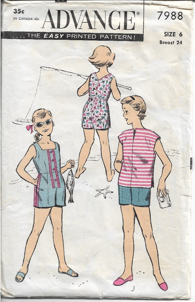 Advance 7988 Girls One Piece Playsuit Shorts Blouse Vintage 1960's Sewing Pattern - VintageStitching - Vintage Sewing Patterns