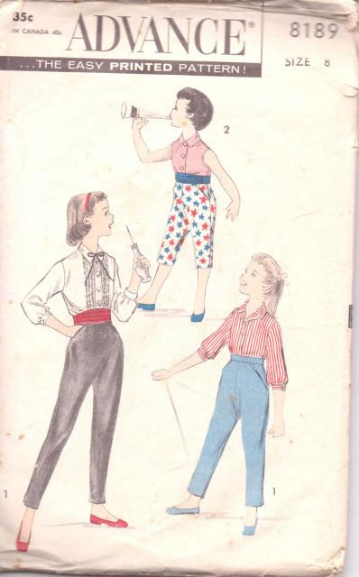 Advance 8189 Girls  Blouse Tapered Pants Cummerbund  Bow Vintage 1950's Sewing Pattern - VintageStitching - Vintage Sewing Patterns