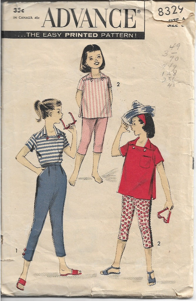 Advance 8329 Girls Pedal Pushers Tapered Pants Shirt Vintage 1960s Sewing Pattern - VintageStitching - Vintage Sewing Patterns