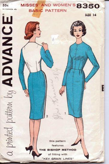 Advance 8350 Ladies Chic Day Dress Vintage Sewing Pattern 1950's Bishop Method - VintageStitching - Vintage Sewing Patterns