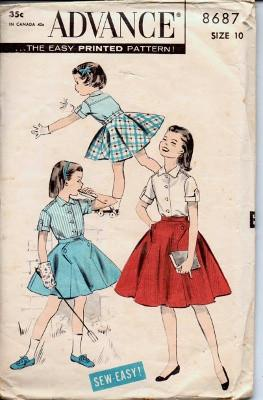 Advance 8687 Girls Blouse Swing Skirt Flared  Vintage 1950's Pattern - VintageStitching - Vintage Sewing Patterns