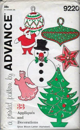Advance 9220 Christmas Holiday Applique Tree Santa Snowman Decoration Vintage Pattern - VintageStitching - Vintage Sewing Patterns
