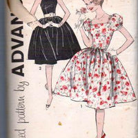Advance 9377 Teen Girls' Sleeveless Dress Puff Sleeves Swing Skirt Vintage 1960's Sewing Pattern - VintageStitching - Vintage Sewing Patterns