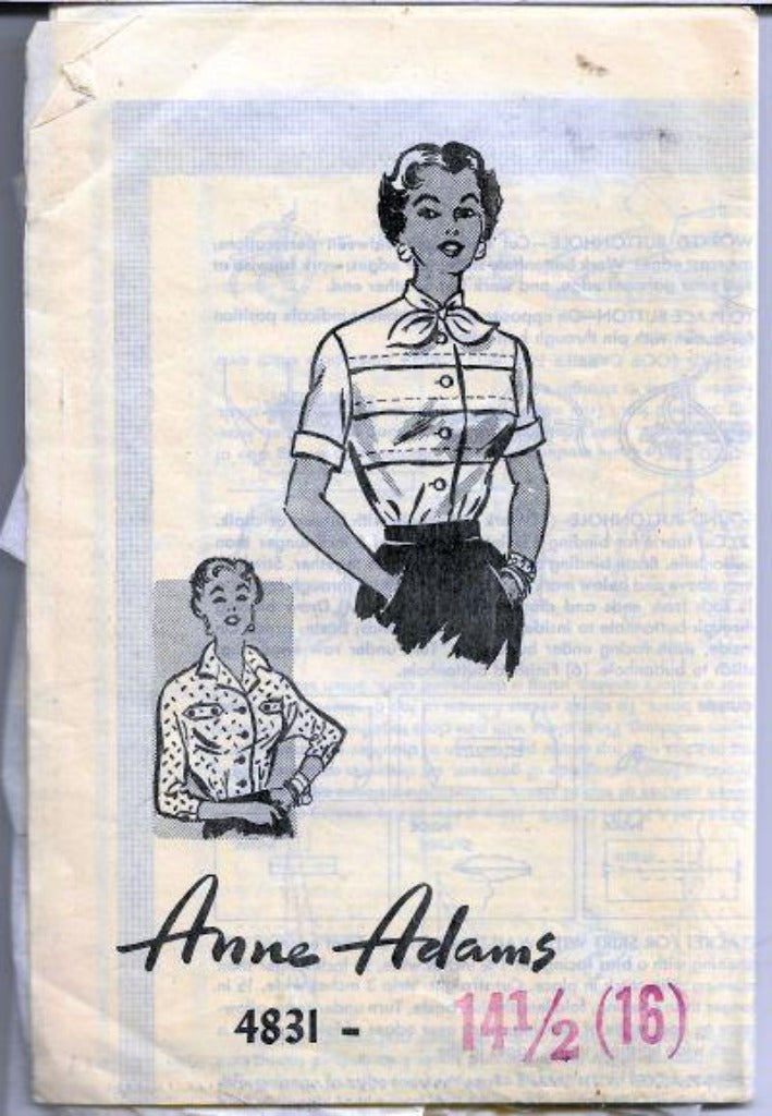 Anne Adams Mail Order 4831 Ladies Blouse Vintage Sewing Pattern 1950s - VintageStitching - Vintage Sewing Patterns
