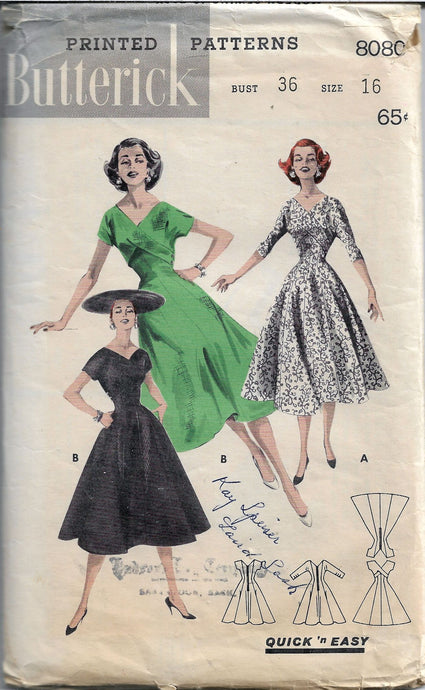 butterick 8080 princess dress vintage pattern 1950s