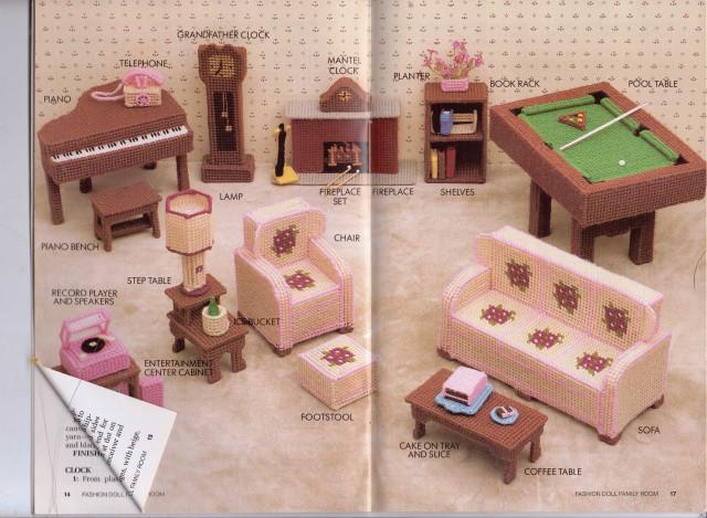 Barbie Family Room Furniture Fashion Doll Plastic Canvas Pattern Annie's Attic - VintageStitching - Vintage Sewing Patterns