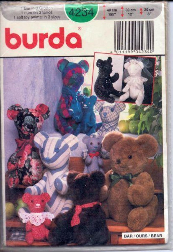 Burda 4234 Stuffed Bear 3 Sizes Sewing Craft Pattern Sealed - VintageStitching - Vintage Sewing Patterns