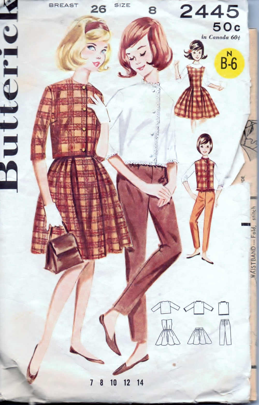 Butterick 2445 GIrls' Wardrobe Jumper Dress Skirt Pants Jacket Vintage 1960's Sewing Pattern - VintageStitching - Vintage Sewing Patterns