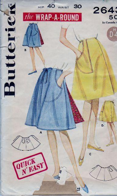 Butterick 2643 Misses Wrap A Round Mini Regular Skirt Vintage 1960's Sewing Pattern Quick N' Easy - VintageStitching - Vintage Sewing Patterns