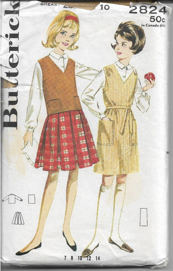 Butterick 2824 Girls Skirt Blouse Separates Vintage 1960's Sewing Pattern - VintageStitching - Vintage Sewing Patterns