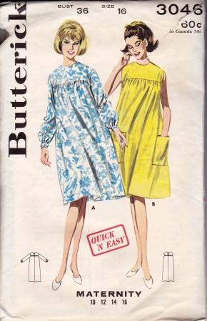 Butterick 3046 Maternity Smock Dress Long Sleeves Sleeveless Vintage 1960's Sewing Pattern Quick N Easy - VintageStitching - Vintage Sewing Patterns