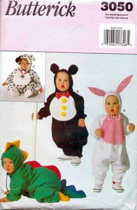 Butterick 3050 Infant  Baby Bunny Panda Bear Dalmation Alligator Halloween Costume Sewing Pattern - VintageStitching - Vintage Sewing Patterns