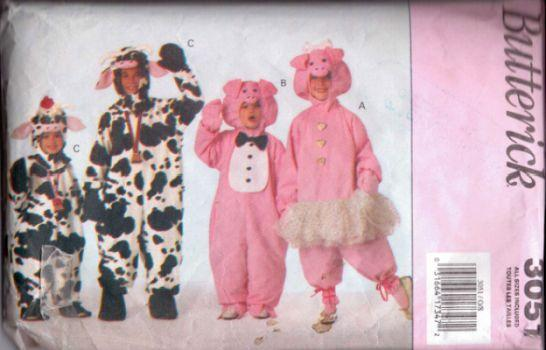 Butterick 3051 Childrens Pig Cow Jumpsuit Halloween Costume Sewing Pattern - VintageStitching - Vintage Sewing Patterns