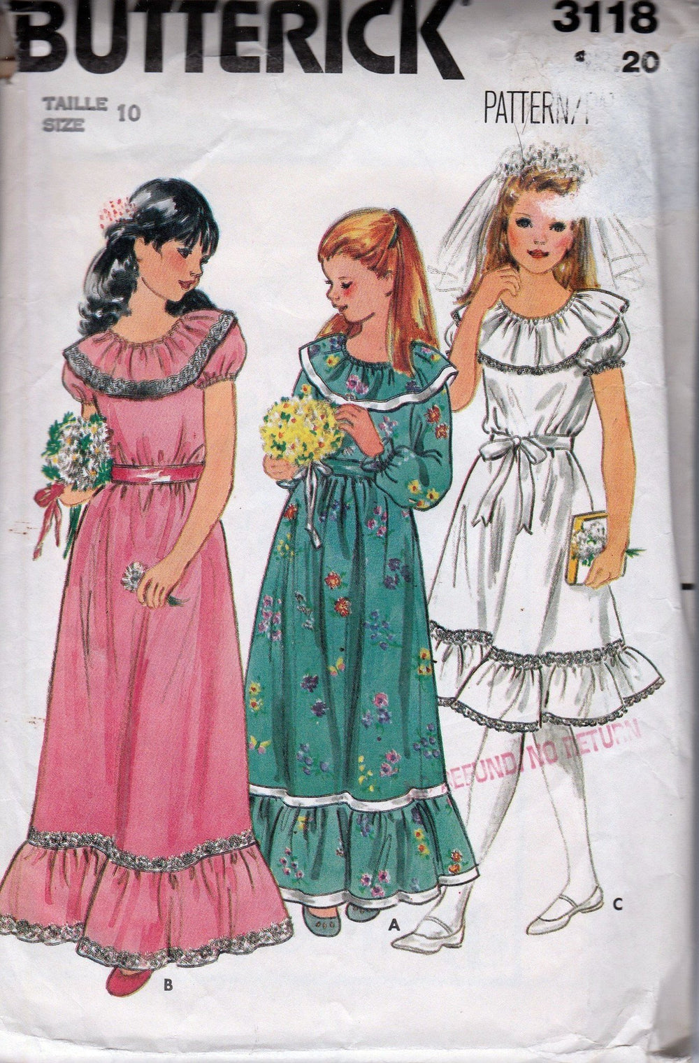 Butterick 3118 Girls First Communion Flower Girl Gown Dress Vintage Pattern 1970's - VintageStitching - Vintage Sewing Patterns