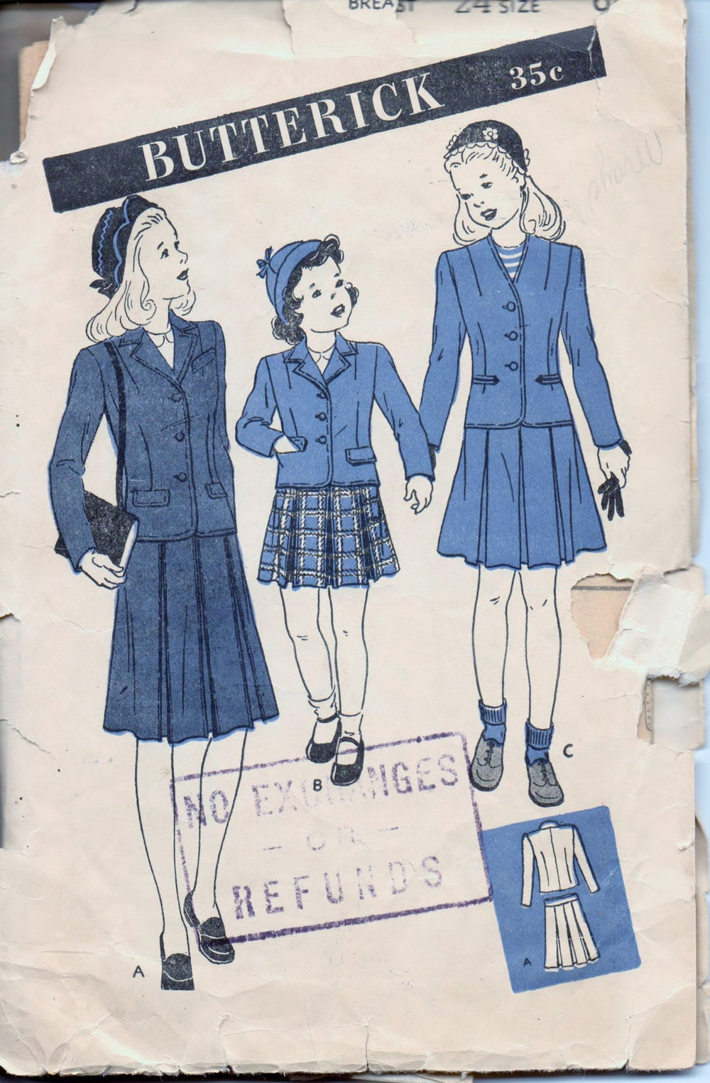 Butterick 3129 Young Girls Tailored Suit Jacket Skirt Vintage 1940's Sewing Pattern - VintageStitching - Vintage Sewing Patterns