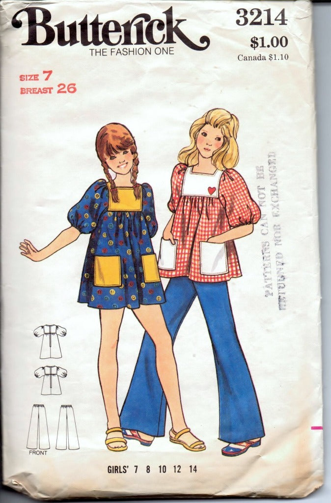 Butterick 3214 Young Girls' Dress Top Pants Vintage 1970's Sewing Pattern - VintageStitching - Vintage Sewing Patterns