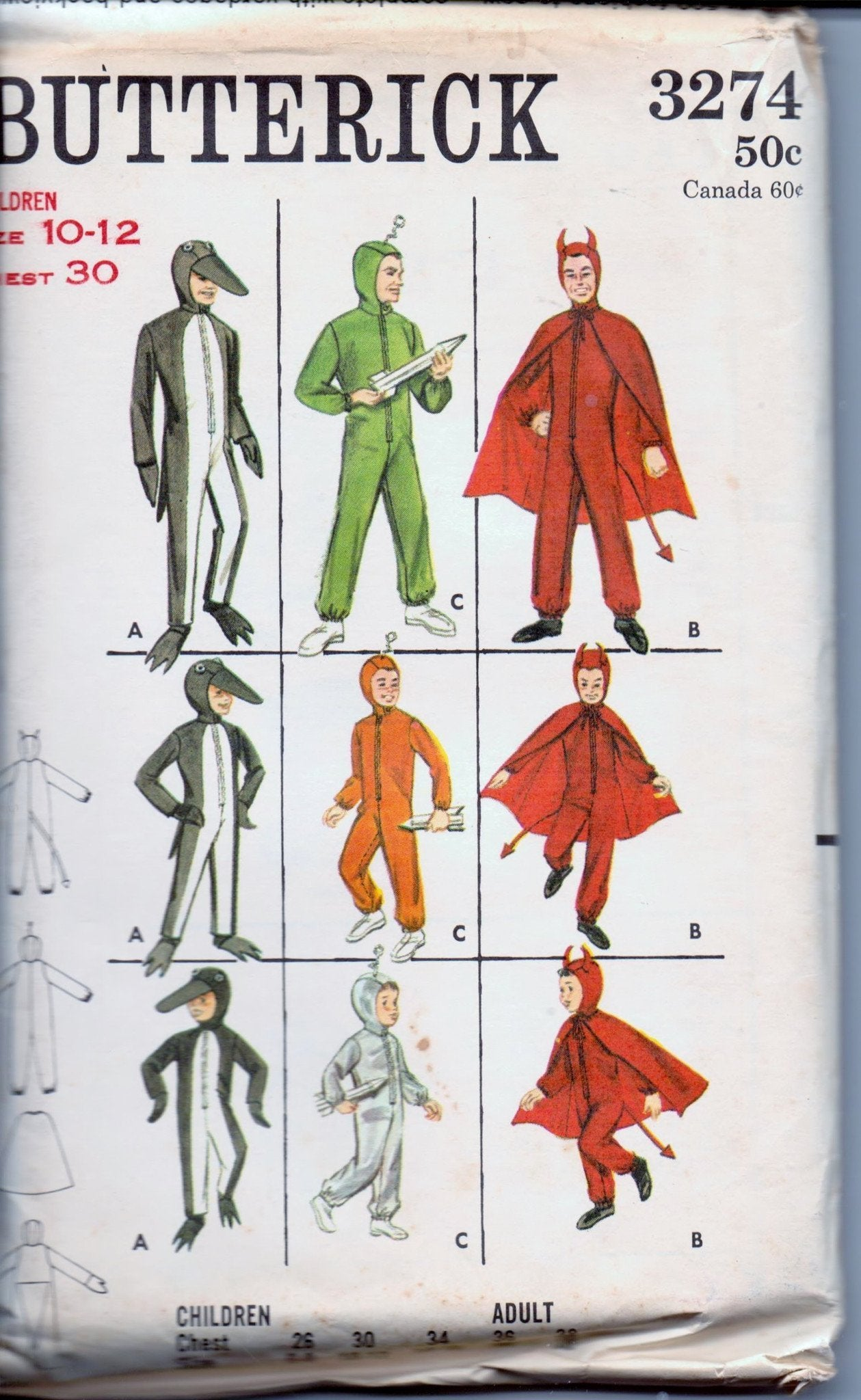 Butterick 3274 Children Penguin Devil Space Halloween Costume Vintage 60's Sewing Pattern - VintageStitching - Vintage Sewing Patterns