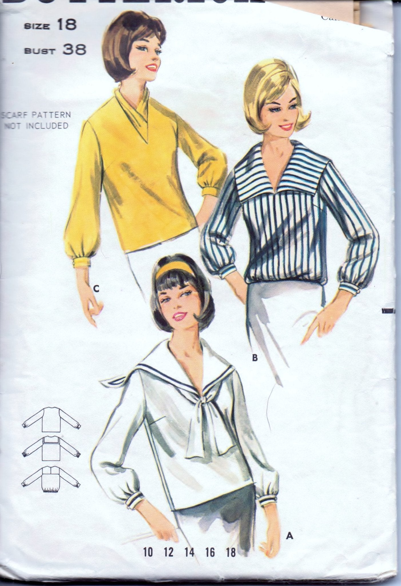 Butterick 3300 Ladies Sailor Blouse Vintage 1970's Sewing Pattern - VintageStitching - Vintage Sewing Patterns