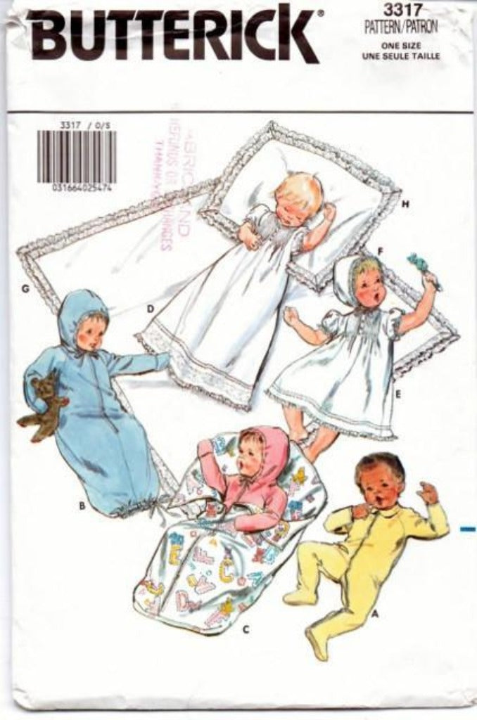 Butterick 3317 Baby Layette Jumpsuit Gown Bunting Dress Bonnet Christening 1980's Pattern - VintageStitching - Vintage Sewing Patterns