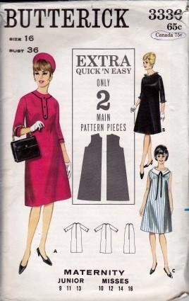 Butterick 3336 Ladies One-Piece Maternity Mod Shift Dress Sleeveless A-Line Three Quarter Sleeves Vintage Sewing Pattern 1960's - VintageStitching - Vintage Sewing Patterns