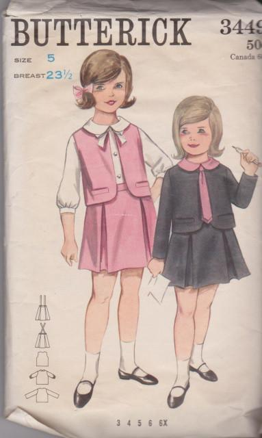Butterick 3449 Little Girls Buttoned Blouse Panel Pleated Skirt Jacket Vintage 60's Pattern - VintageStitching - Vintage Sewing Patterns